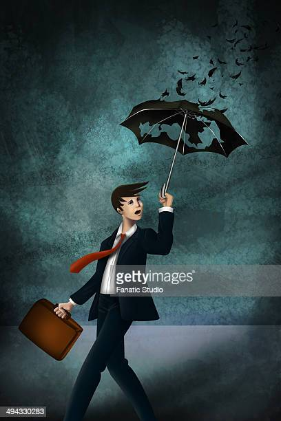 illustrative image of young businessman with worn out umbrella in storm representing inadequate insurance - bad luck stock illustrations, clip art, cartoons, & icons