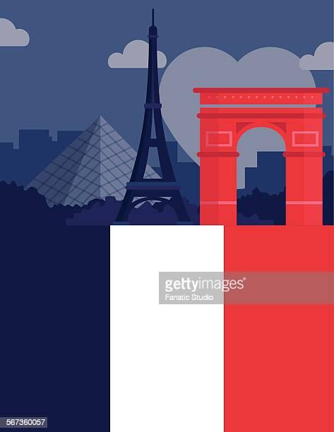 illustrative image representing famous landmarks of paris, france - louvre pyramid stock illustrations