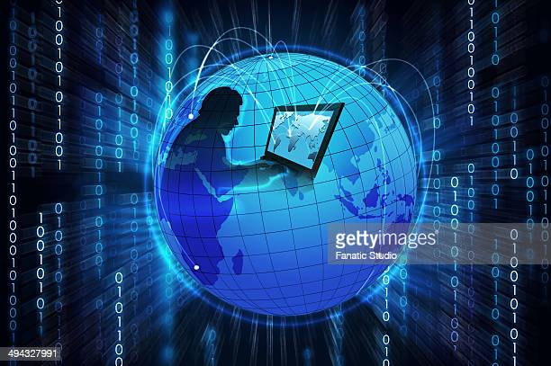 illustrative representation of a businessman trading online - online advertising stock illustrations, clip art, cartoons, & icons