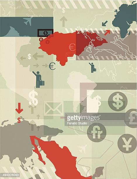stockillustraties, clipart, cartoons en iconen met illustrative representation of global business - e mail