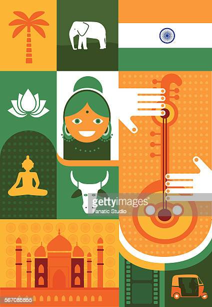 Illustrative representation of Indian cultures