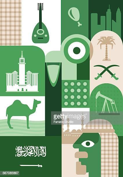 illustrative representation of saudi arabia, uae - arabic script stock illustrations, clip art, cartoons, & icons