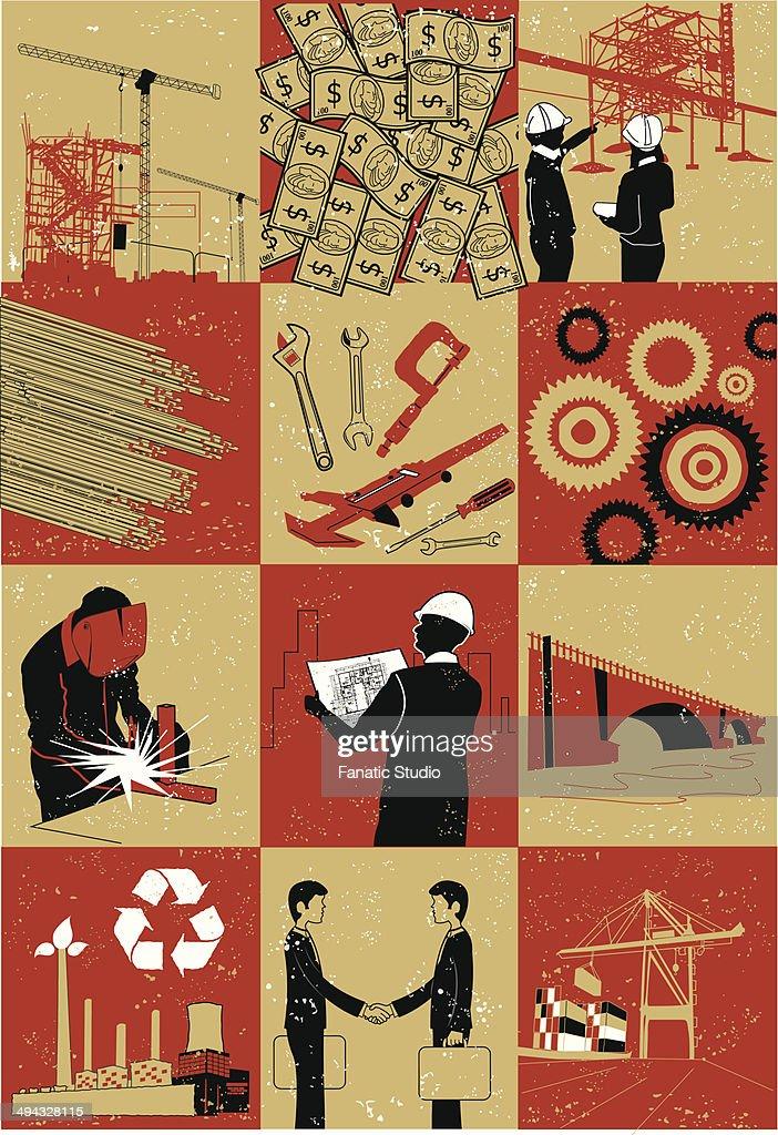 Illustrative representation showing construction : Stock Illustration