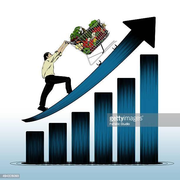 Illustrative representation showing price rising