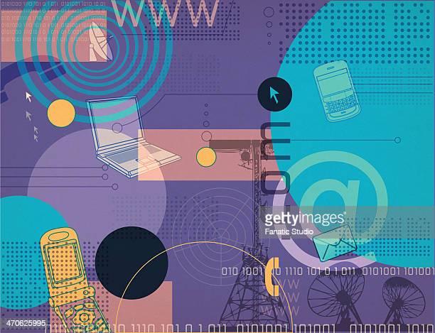 illustrative representation telecom industry - photocopier stock illustrations, clip art, cartoons, & icons