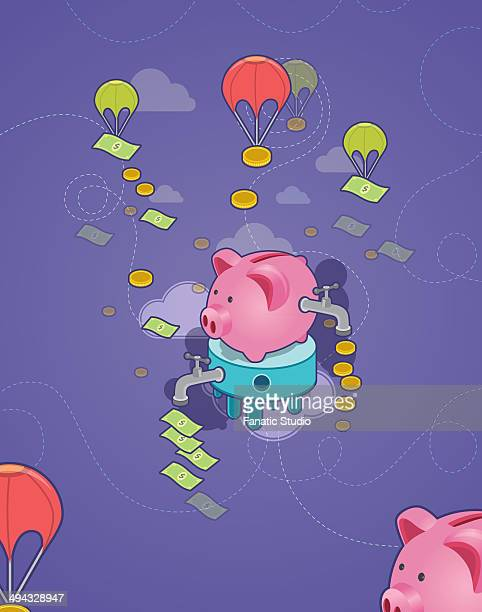 illustrative shot of piggy bank with tap and flying parachute depicting concept of cash flow and money management - cash flow stock illustrations, clip art, cartoons, & icons