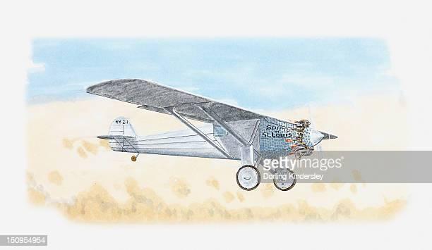 illustraton of spirit of st louis monoplane flown by charles lindbergh, non-stop flight from new york to paris, 1927 - charles lindbergh stock-grafiken, -clipart, -cartoons und -symbole