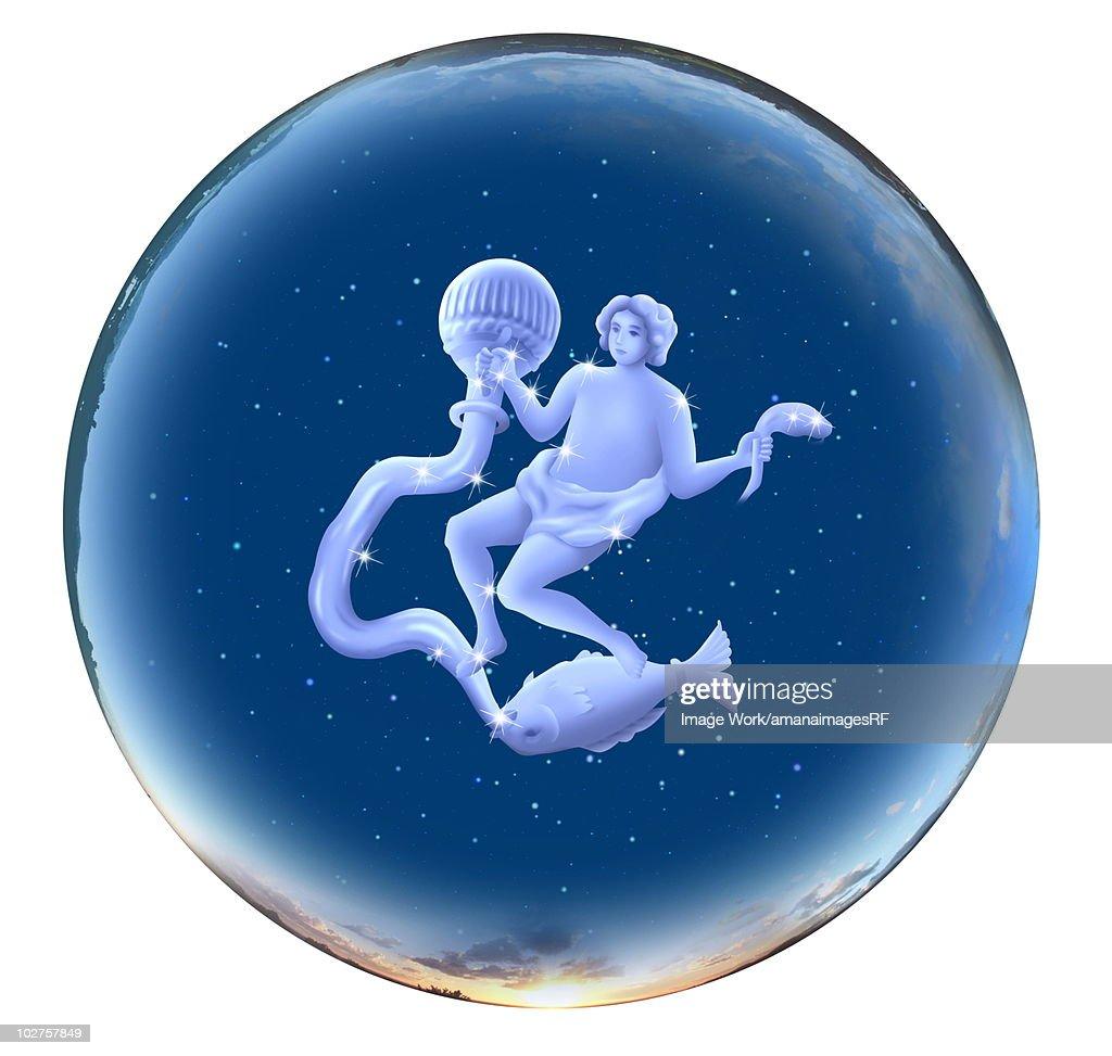 Image of Astrology sign, Aquarius, white background : Stock Illustration