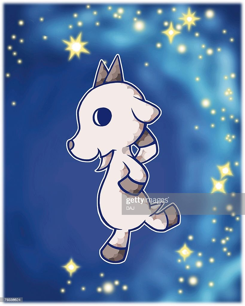 Image of Astrology sign, Capricorn, side view, differential focus : Stock Illustration