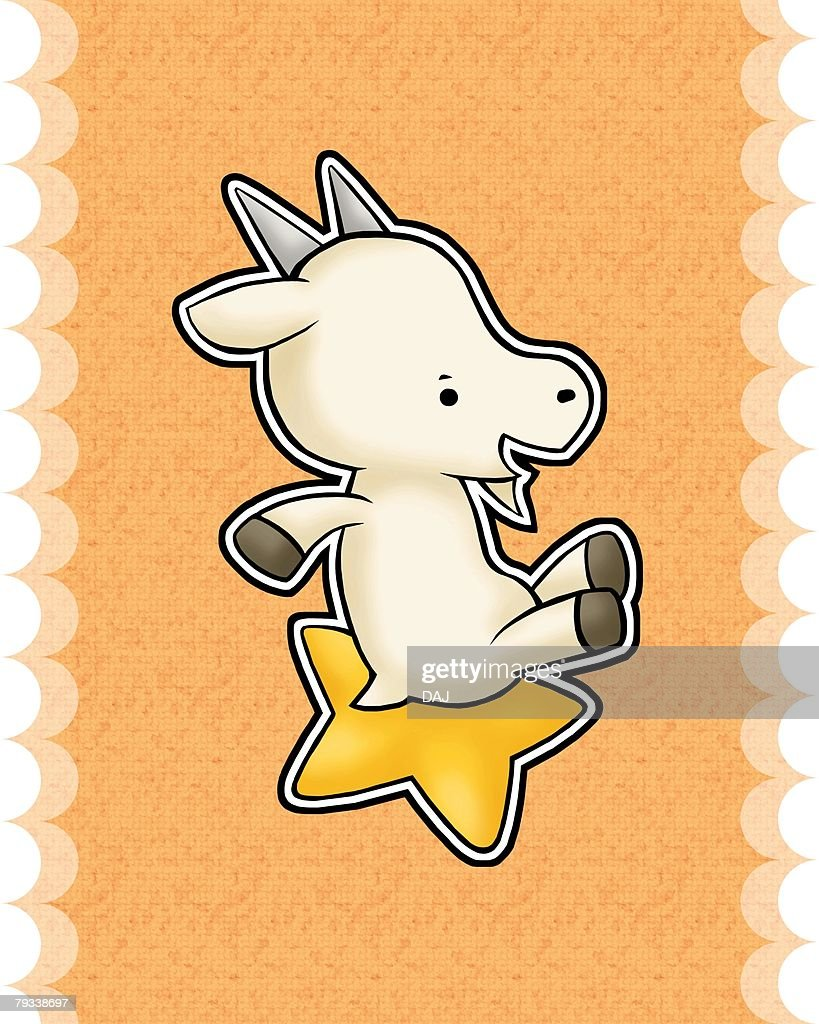 Image of Astrology sign, Capricorn, side view, orange background, cut out : Stock Illustration