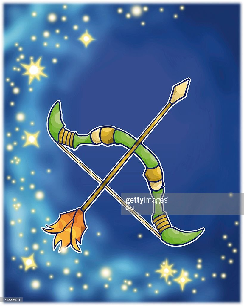 Image of Astrology sign, Sagittarius, front view, differential focus : Stock Illustration
