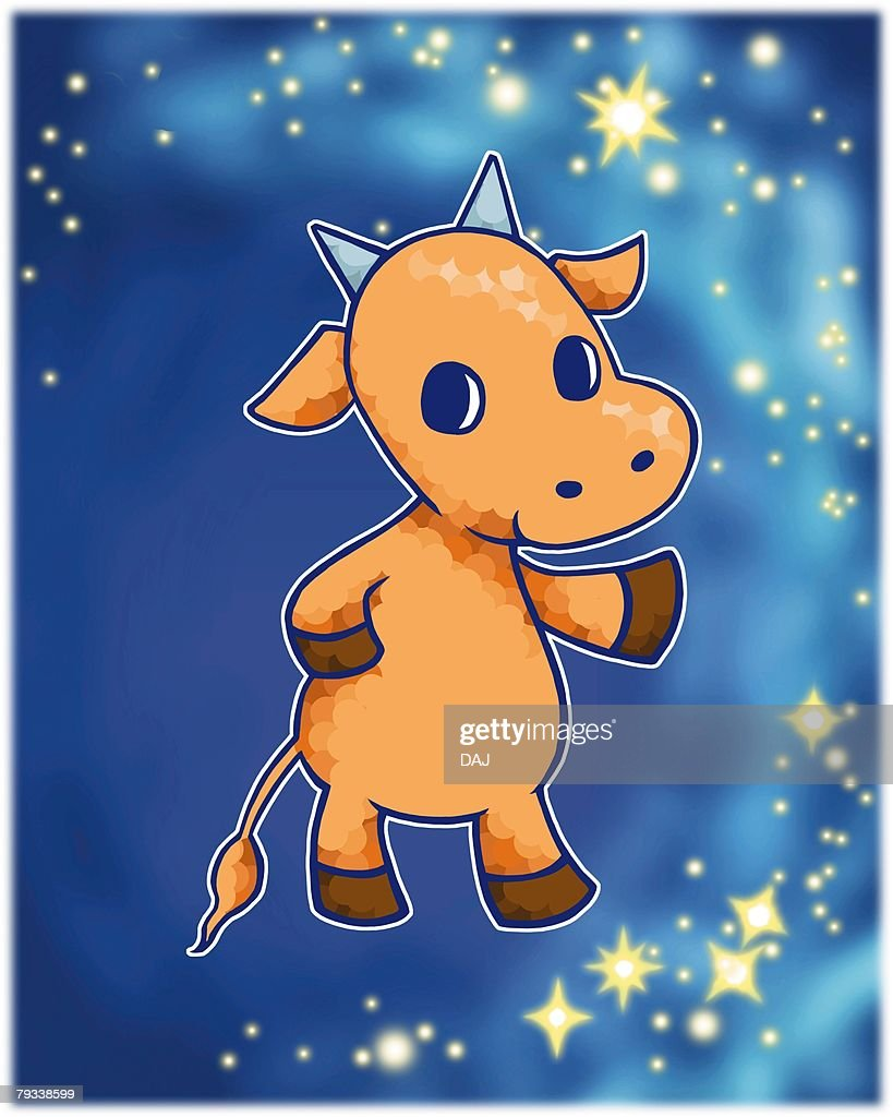 Image of Astrology sign, Taurus, front view, differential focus : Stock Illustration