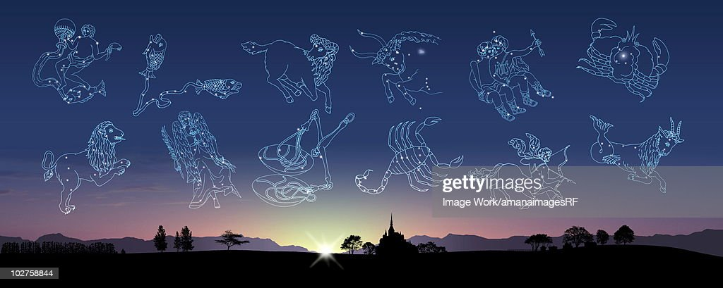 Image of Astrology signs in sky : Stock Illustration