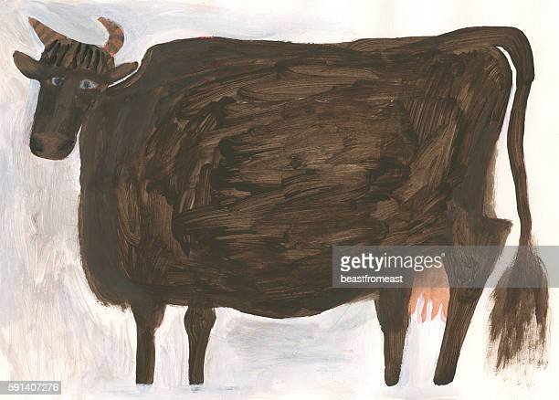 Image of painted brown cows isolated on white