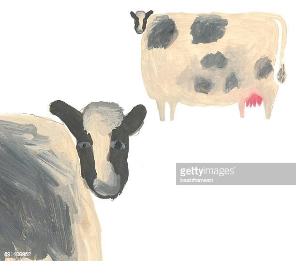 Image of painted cows isolated on white