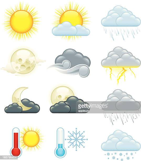 image of twelve colored weather icons - sleet stock illustrations, clip art, cartoons, & icons