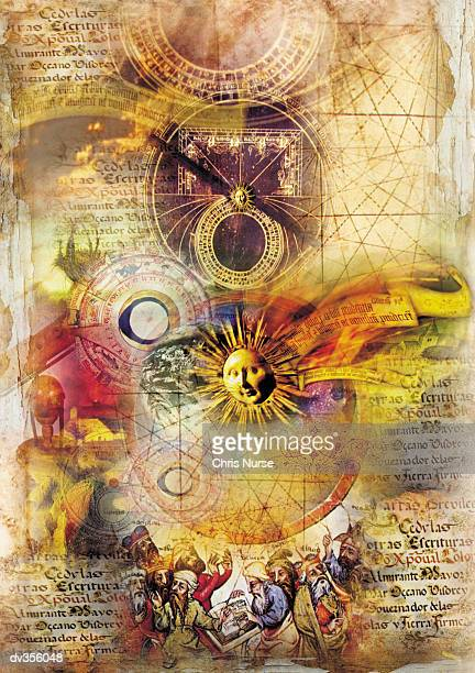 Images of ancient texts, charts & suns