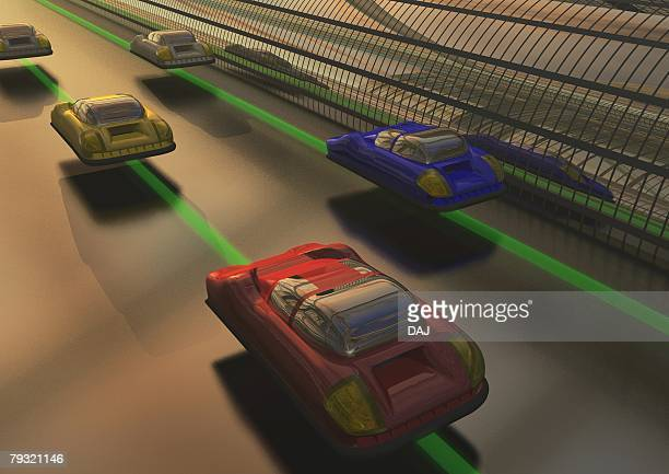 Imaginary cars in future, Illustration, CG, High Angle View