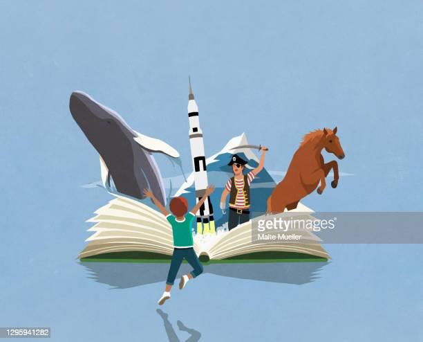 imaginative boy and girl reading adventure book - opportunity stock illustrations