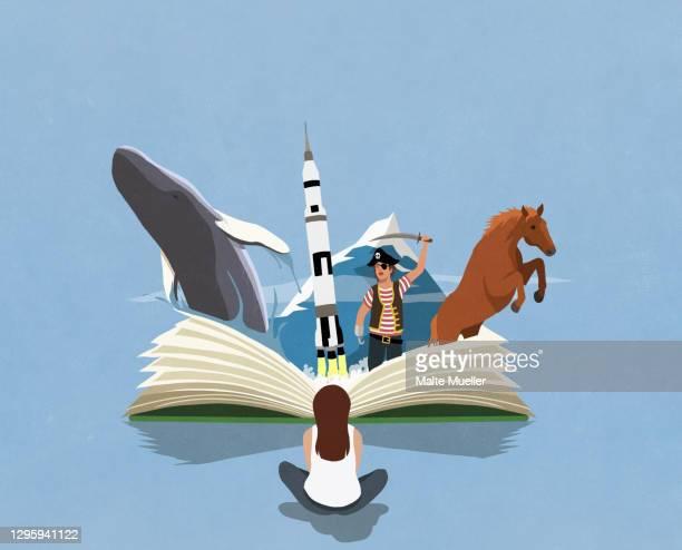 imaginative girl reading adventure travel book - opportunity stock illustrations