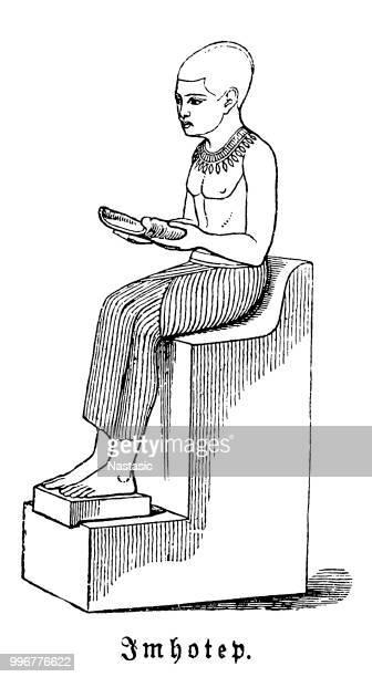 Imhotep fue un Canciller egipcio el Faraón Djoser, probable arquitecto de la pirámide escalonada y sumo sacerdote del Dios del sol Ra en Heliopolis
