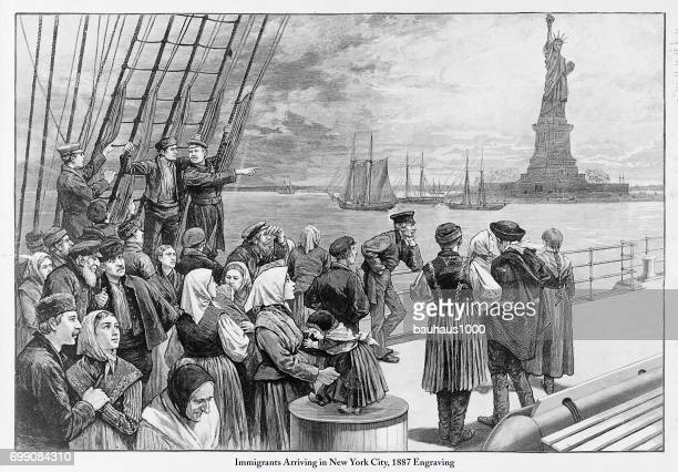 immigrants arriving in new york city, 1887 engraving - 19th century stock illustrations