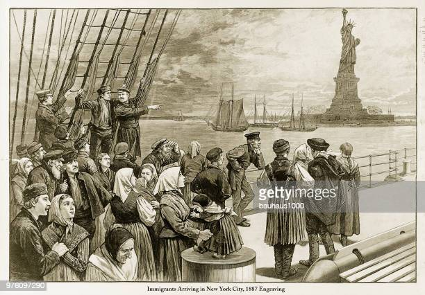 immigrants arriving in new york city, 1887 engraving - history stock illustrations