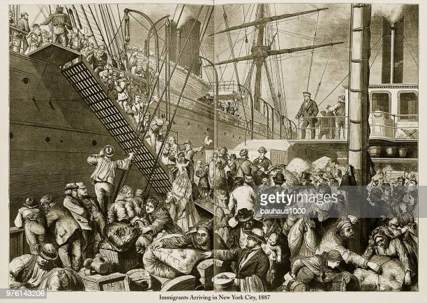 immigrants arriving in new york city, 1887 engraving - disembarking stock illustrations