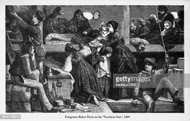 "Immigrants Below Deck on ""Northern Star"", 1869 Engraving"