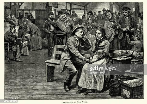immigrants fresh of the boat, new york, 19th century - ellis island stock illustrations, clip art, cartoons, & icons