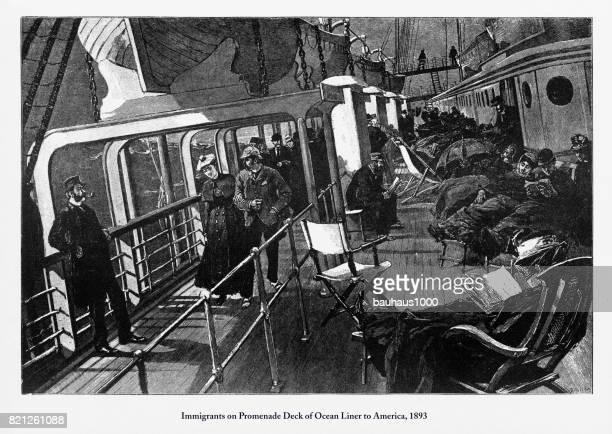 immigrants on promenade deck of ocean liner to america, 1893 - promenade stock illustrations, clip art, cartoons, & icons