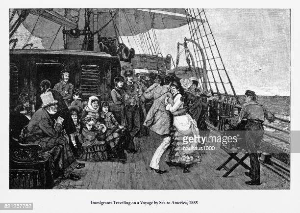 Immigrants Traveling on a Voyage by Sea to America, 1885