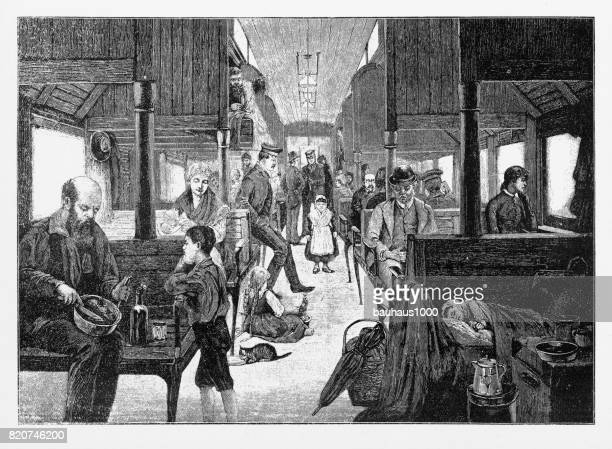 Immigrants Travelling West on Third Class Railway, Early American Engraving, 1870