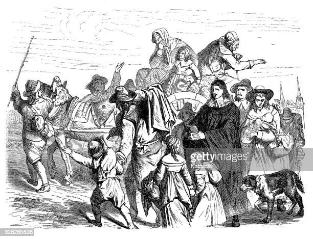 immigration of french huguenots in berlin, end of 18th century - protestantism stock illustrations, clip art, cartoons, & icons