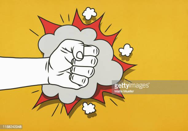 impact of angry fist - aggression stock illustrations