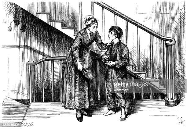 ilustraciones, imágenes clip art, dibujos animados e iconos de stock de niño victoriano necesitado teniendo comida por una buena mujer - gracias por su atencion