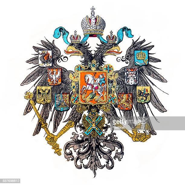 ilustrações, clipart, desenhos animados e ícones de emblema rússia imperial - cultura russa