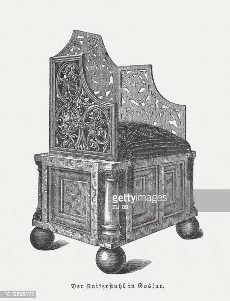 imperial throne of goslar, wood engraving, published in 1897 - sandstone stock illustrations, clip art, cartoons, & icons