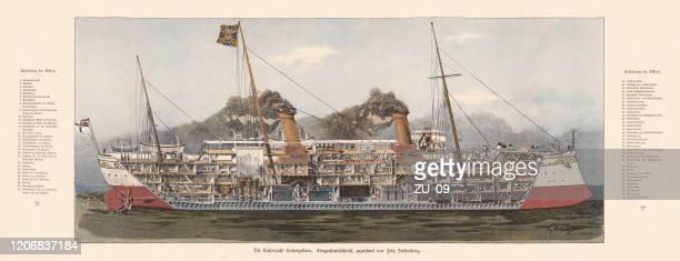 imperial yacht hohenzollern, longitudinal average with explanations (1893), published 1895 - warship stock illustrations