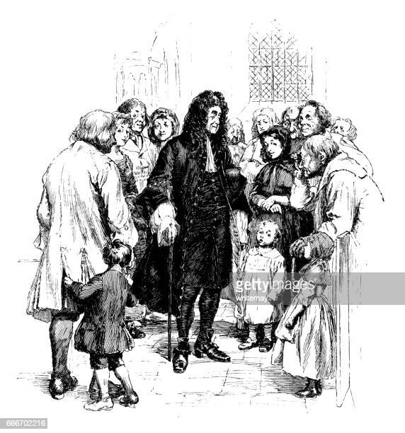 Important early 18th century gentleman talking to ordinary folk