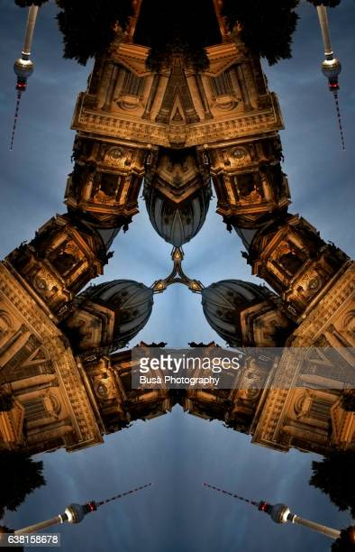 impossible architectures: digital manipulation of image of berlin cathedral with berlin tv tower in the background - communications tower stock illustrations