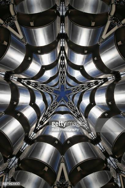impossible architectures: digital manipulation of lloyd's building in the financial district of london, uk - finanzen stock illustrations