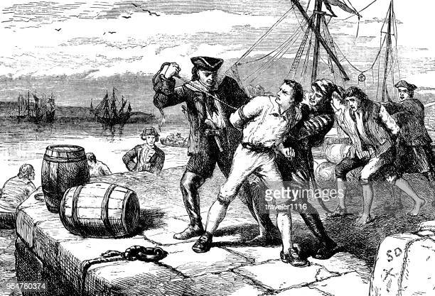 impressing american soldiers during the war of 1812 - war stock illustrations