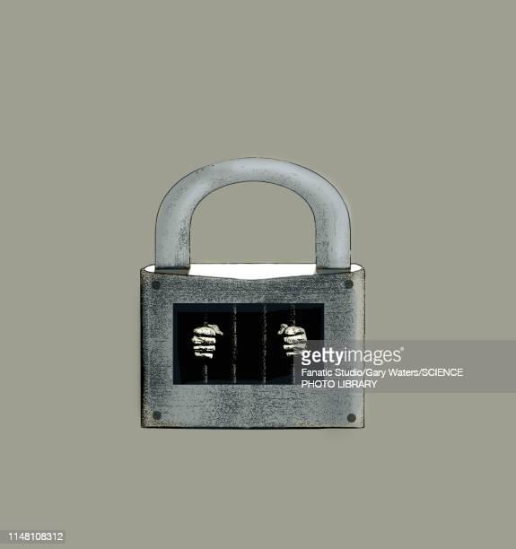 imprisonment, conceptual illustration - lock stock illustrations