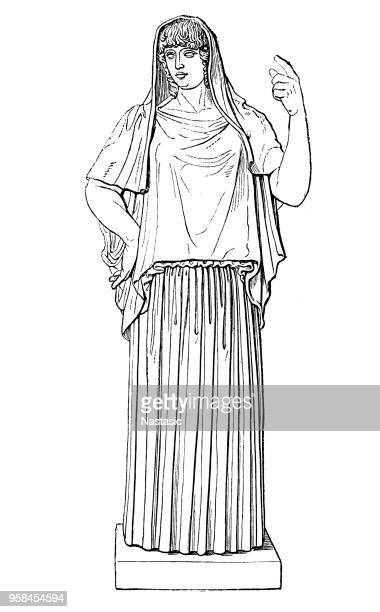 in ancient greek religion, hestia is a virgin goddess of the hearth, architecture, and the right ordering of domesticity, the family, the home, and the state. in greek mythology, she is a daughter of cronus and rhea - red cabbage stock illustrations, clip art, cartoons, & icons