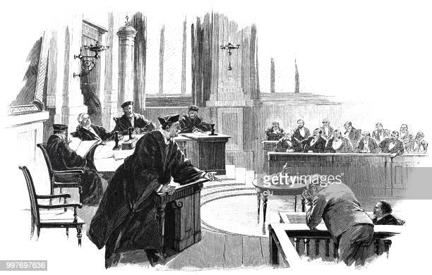 in front of the jury court: speech of the prosecutor - jury entertainment stock illustrations