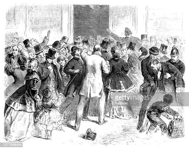 1866年5月11日に破綻したロンドンの銀行オーバーエンド、ガーニー、カンパニーの前で - 1870~1879年点のイラスト素材/クリップアート素材/マンガ素材/アイコン素材