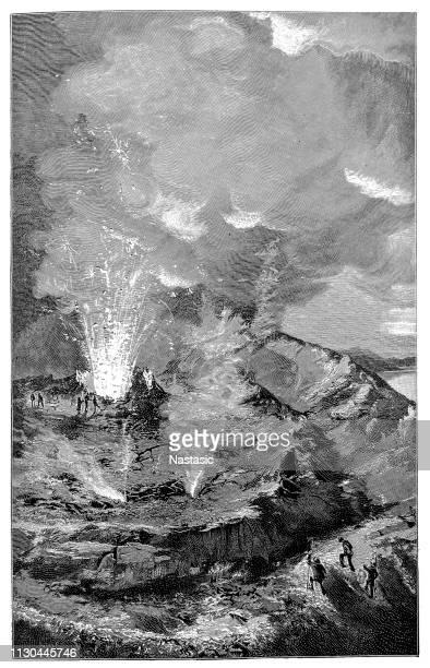 in the crater of vesuvius - mt vesuvius stock illustrations, clip art, cartoons, & icons
