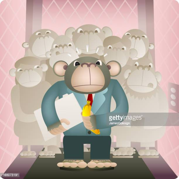 in the elevator - 'monkey business' #2 - office politics stock illustrations, clip art, cartoons, & icons