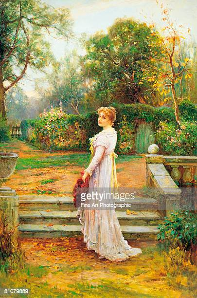 in the garden - one young woman only stock illustrations